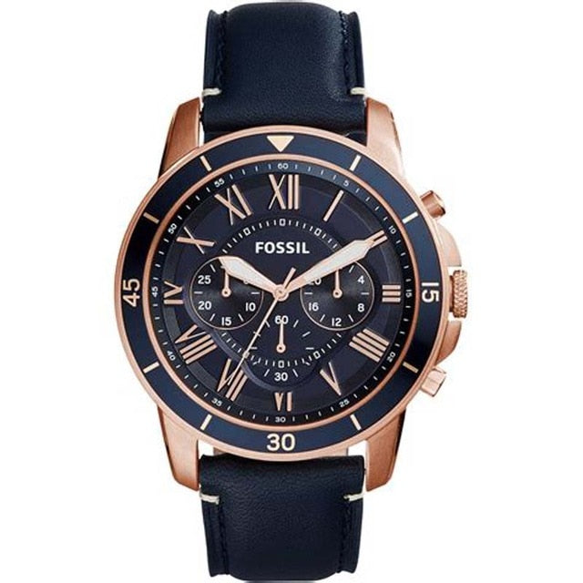 (Discount Commodity)Luxury Brand Fossil Men Quartz Watch  Business Sport Stainless Steel Case Leather Watch FS5237