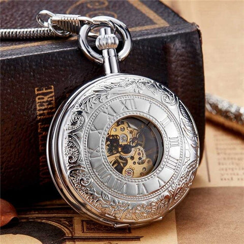 New 2020 Unique Vintage Copper Golden Carved Dial Mechanical Hand Wind Pocket Watch FOB Chain Luxury Men Clock