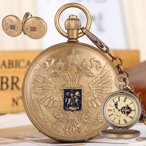 Retro Double-headed Eagle Pocket Watches for Men Mechanical Pendant Necklace Chain Watch with Phase Sun Moon 24 Hour for Friends