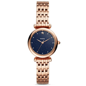 FOSSIL Ladies Watch Blue Dial Carlie Mini THREE-HAND Rose Gold-Tone Stainless Steel Quartz Watch for Women Stylish ES4522P