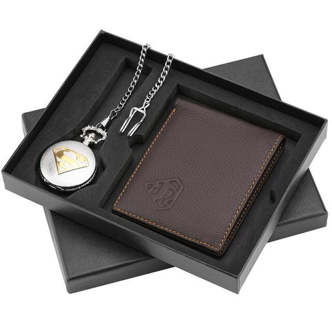 Excellent Pocket Watch Wallet Set for Men Roman Numerals Dial Pocket Watches for Boyfriend Portable Leather Wallet for Husband