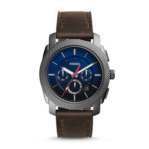 FOSSIL Machine Chronograph Gray Leather Watch Vintage Watch for Men Luxury Brand Men Pocket Watch reloj fossil hombre FS5388P