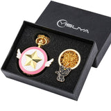 Pocket Watch Set for Girls Fashionable Card-captor Sakura Theme Pattern Key Ring Comfortable Gold Slim necklace for Women