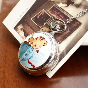 Fashion Style Men and Women Pocket Watch Quartz Stainless Steel Pocket Watch Fashion Cat Love Fish Ceramic Rattan Pocket Watch