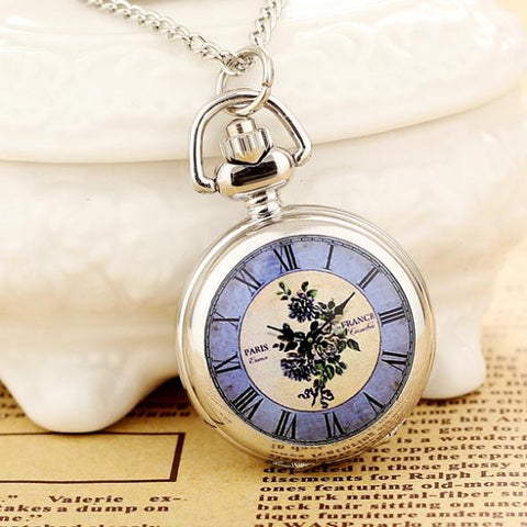 2019New Products Women Pocket Watch High Quality Steampunk Necklace Pendant Quartz Pocket Watch Fashion Print Relogio Feminino