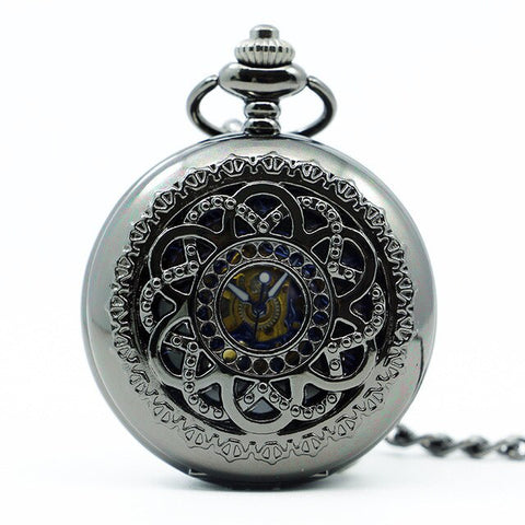 wholesale 20pcs Black Hollow Fashion Design Roman Dial Windup Mechanical Mens Women Pocket FOB Watch with Chain Free Shipping