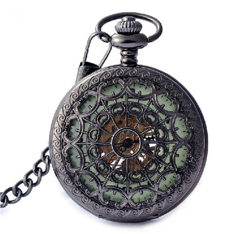 20pcs Wholesale Steakpunk Fashion Hollow Mechanical Mens Women Pocket FOB Watch with Chain Free Shipping Hand Wind Skeleton