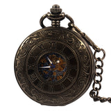 20pcs Steakpunk Fashion Design Steampunk Roman Dial Windup Mechanical Mens Women Pocket FOB Watch with Chain Free Shipping