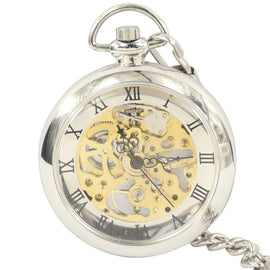 Wholesale 20pcs Roman Dial Windup Skeleton Mechanical Mens Women Pocket FOB Watch with Chain Free Shipping Hand wind