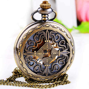 20pcs Mens Women Mechanical Pocket FOB Watch with Chain Free Shipping Hand Wind Skeleton Chinese Knot Fashion Steakpunk FOB