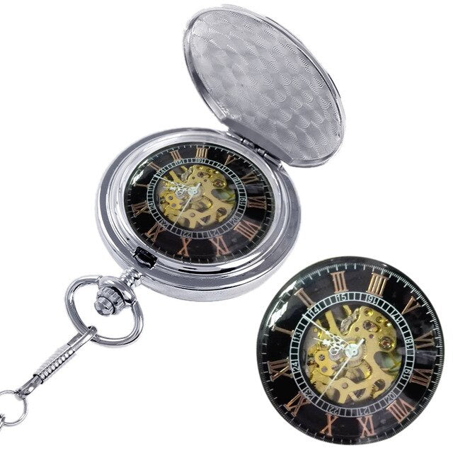 20pcs wholeasle silver Fashion Design Roman Dial Windup Mechanical Mens Women Pocket Watch With Chain Free Shipping lot