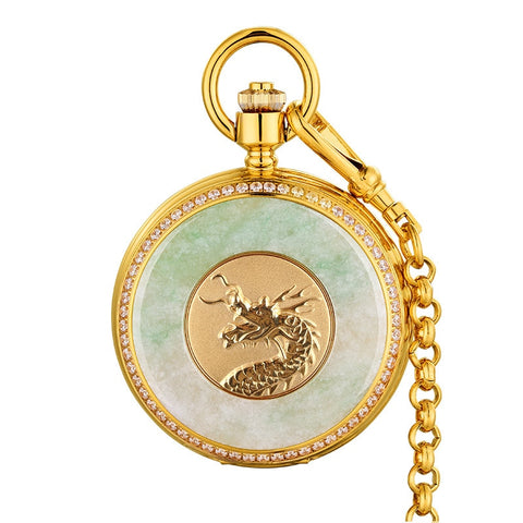 Top Luxury Jade Men Retro Pocket Watch Mechanical Emerald Surface Gold Dragon Great Man Clock Men's Pocket Watches Collection