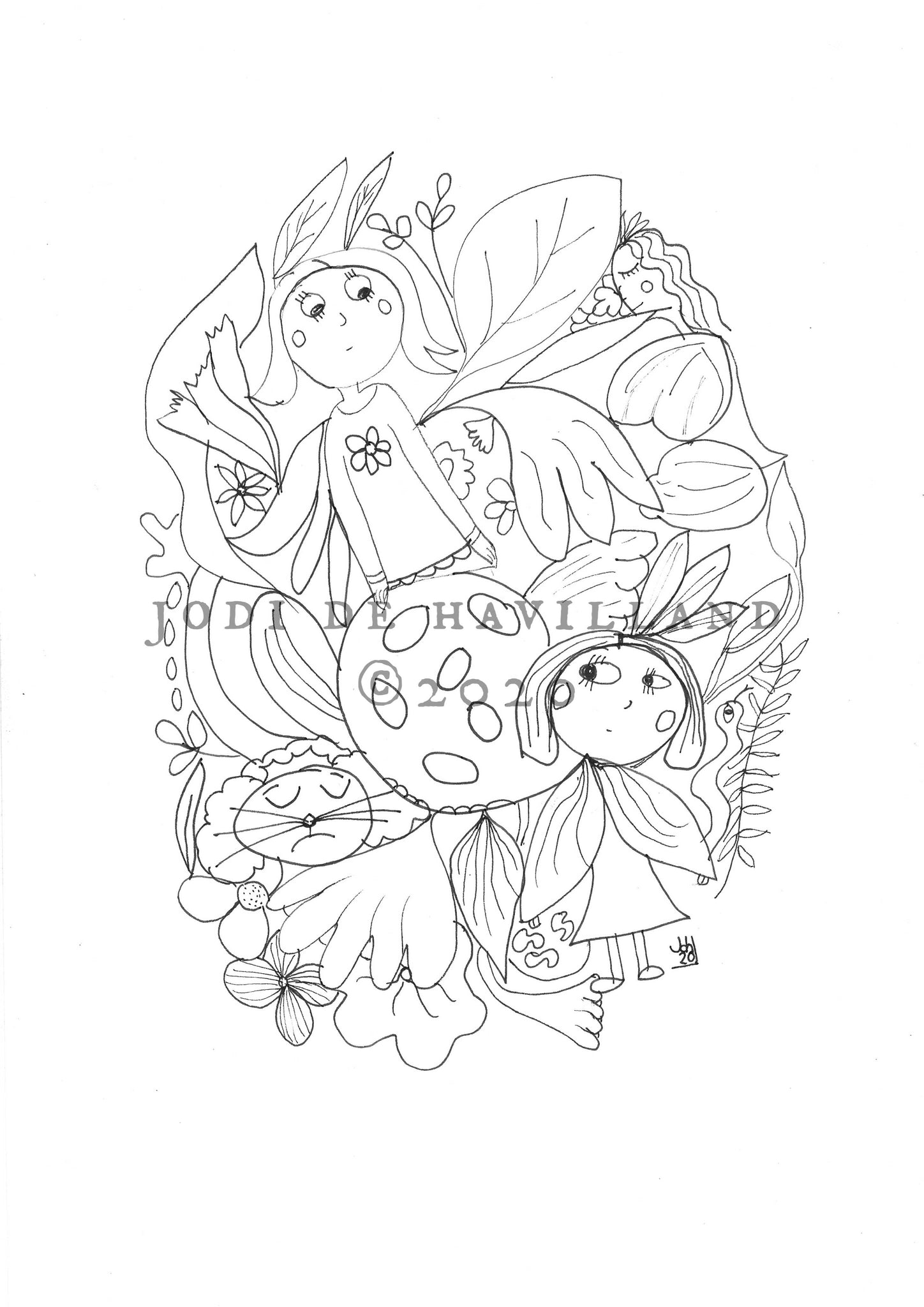 Fairy Flowers - printable colouring page
