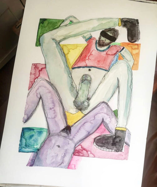 Working From Home - Original watercolour & ink erotic painting