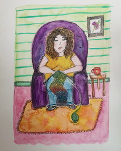 Sleepy Knitting Woman - original watercolour and ink painting