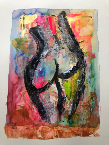 woman #1 - original acrylic and watercolour painting