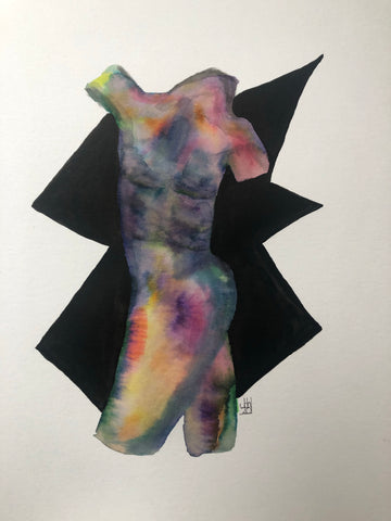 Male form 2 - original watercolour and ink painting