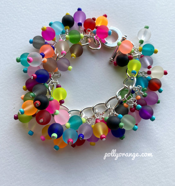 Pollyorange multicoloured beaded charm bracelet