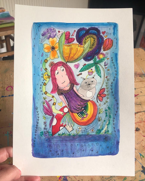 The fairy and the cat - original gouache and ink painting