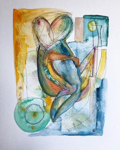 She's watching us - original watercolour & ink abstract painting