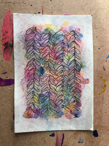 Abstract stitches  - original watercolour and ink painting