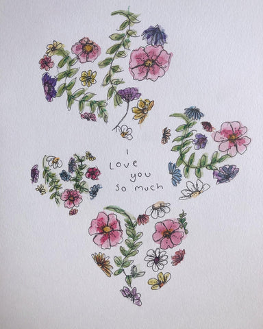 I love you so much - original watercolour and ink painting