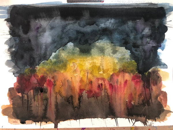 Your love burns even in the darkest storms - original watercolour abstract painting