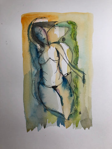 Eve - original watercolour & ink abstract painting