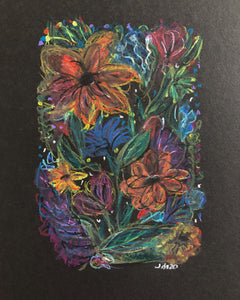 Frazzled flowers - original wax pastel painting