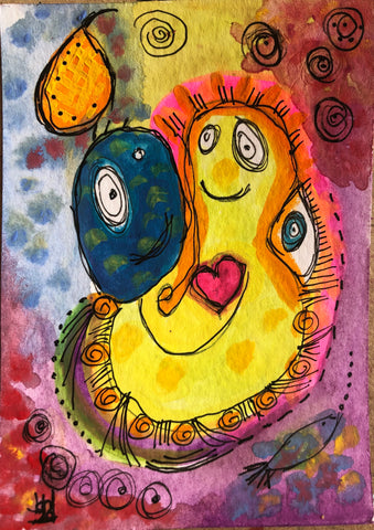 Miss your funny face  - original gouache and ink painting