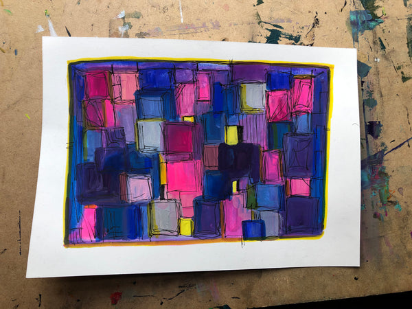 Shapes and lines  - original gouache and ink painting