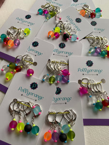 Frosted bead stitch marker set - random mix
