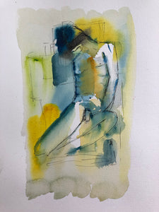 Be quiet - original watercolour & ink abstract painting