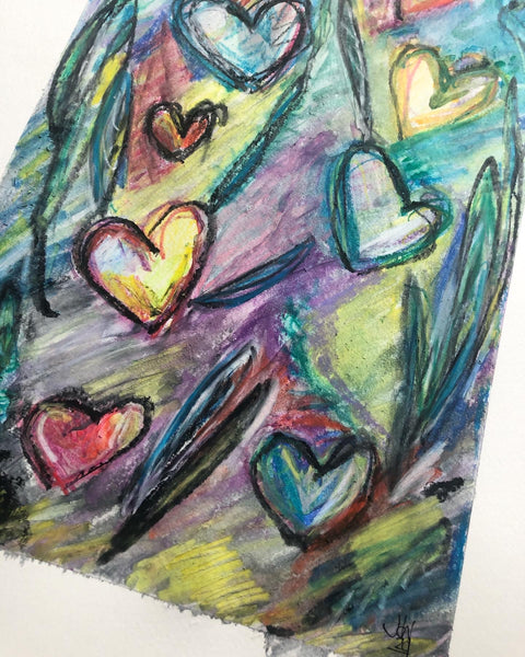 Angry abstract hearts - original wax pastel painting