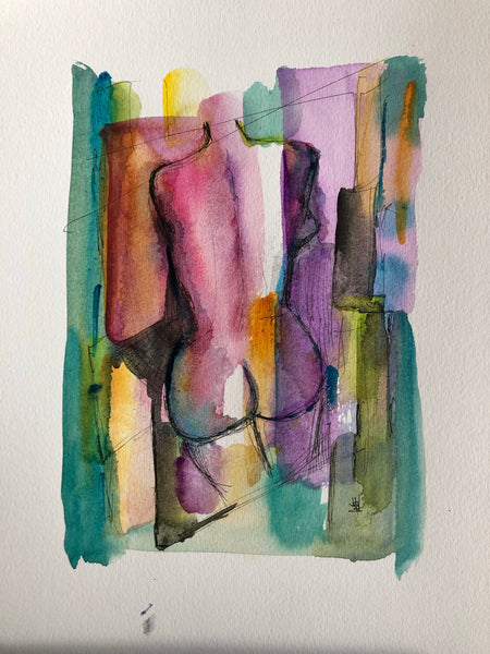 Wash me with your love - original watercolour & ink abstract painting