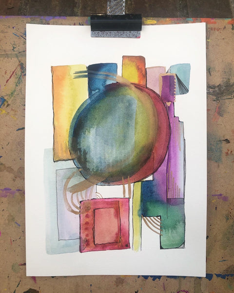 Continual connection - original watercolour abstract painting