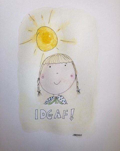 Idgaf - original watercolour and ink painting