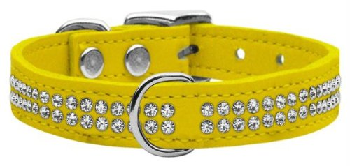 MyDog™ Dog Collar Two Row Clear Jeweled Yellow Leather Dog Collar 20