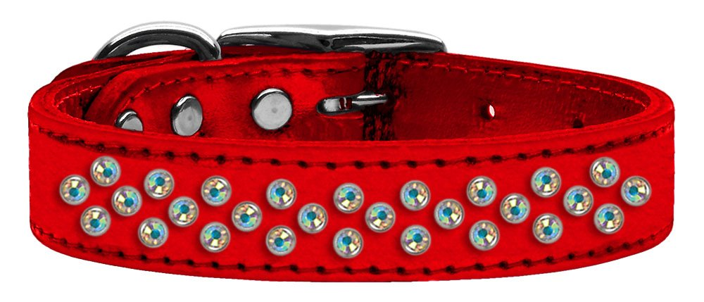MyDog™ Dog Collar Metallic Sprinkles AB Crystal Red Leather 18
