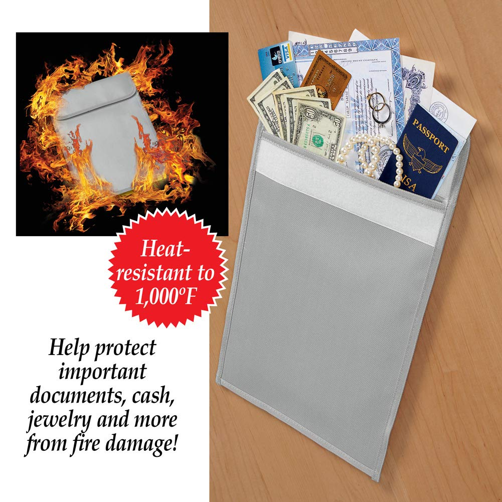 Fire Resistant Fiberglass Document Bag for Protection of Valuables - Legal-Size Holder