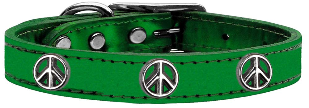 MyDog™ Dog Collar Metallic Peace Sign Emerald Green Leather 26