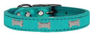 MyDog™ Dog Collar Metallic Silver Bone Turquoise Leather 26