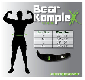 "Bear Komplex - BKX - Strength Belt w/ 6"" back"