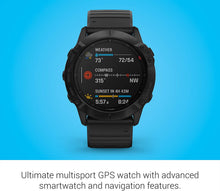Load image into Gallery viewer, Garmin fenix 6X Sapphire - Carbon Gray DLC with Black Band