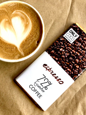 Load image into Gallery viewer, Coffee Dark Chocolate Bar - 72% Ecuadorian.