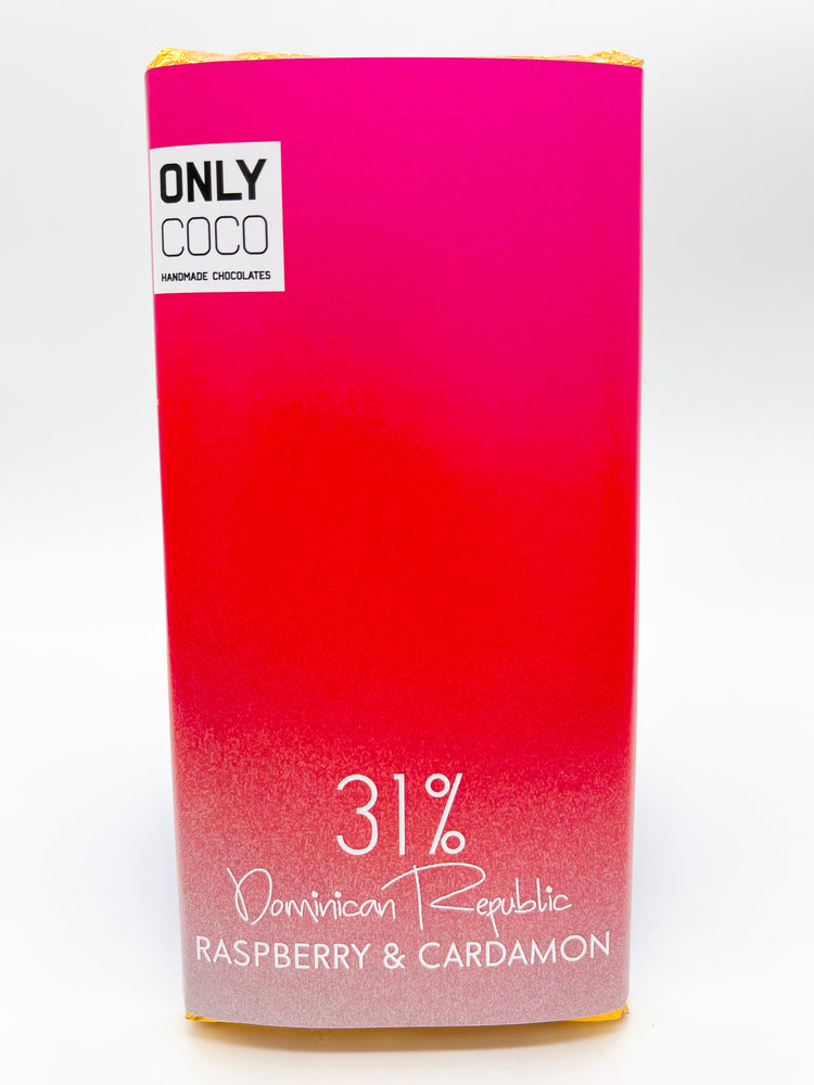 Raspberry & Cardamon White Chocolate Bar - 31% Dominican Republic