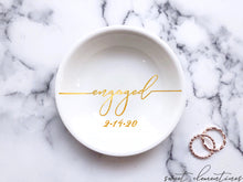 Load image into Gallery viewer, 'Engaged' Ring Dish - Gold Lettering