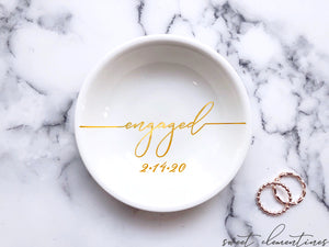 'Engaged' Ring Dish - Gold Lettering