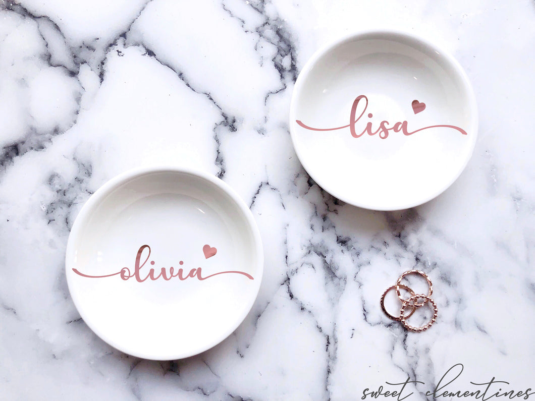 Personalized Jewelry Dish With Heart