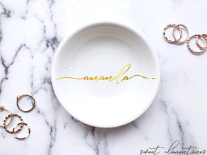 Personalized Jewelry Dish - Gold Lettering